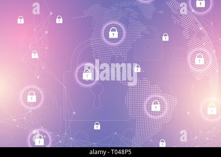 Protection concept. Data Security system Shield Protection Verification. Cyber security and information or network protection. Future cyber technology - Stock Photo