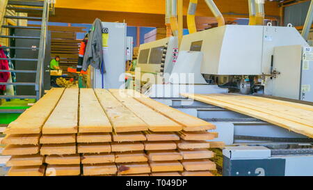 Piles of lumbers lined up to be smoothened by a big machine being controlled by a worker in the sawmill factory - Stock Photo