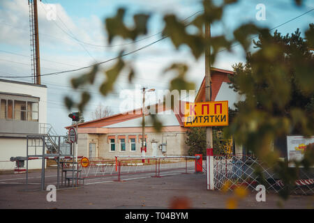 Checkpoint in Dytiatky village in Chornobyl exclusion zone. Radioactive zone in Pripyat city - abandoned ghost town. Chernobyl history of catastrophe - Stock Photo