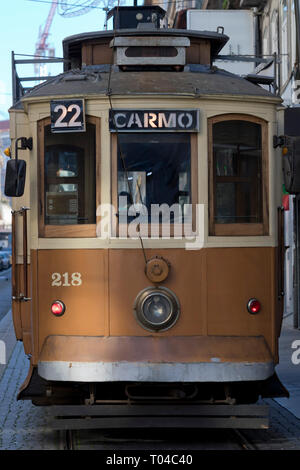 Closeup image of a traditional tram in Porto (Portugal). - Stock Photo