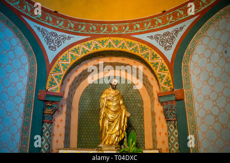 Statue of St Joseph in Cathedral Notre Dame du Puy in France - Stock Photo