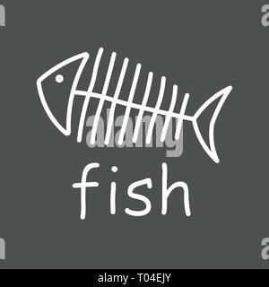 Line fish icon. Line design. Vector Illustration. EPS 10 - Stock Photo