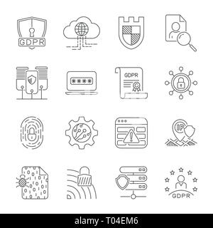 Data protection and cyber security thin line icons set. Cyber security, data and network protection. Protection technology, web services for business - Stock Photo
