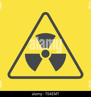 Radioactive zone, vector sign or symbol. Warning radioactive zone in triangle icon isolated on yellow background with stripes. Radioactivity - Stock Photo