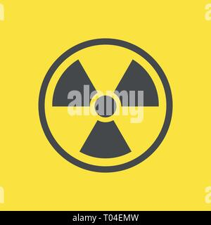 Radioactive warning yellow sign. Vector Illustration. EPS 10 - Stock Photo