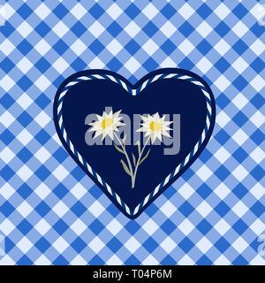 Hand drawn edelweiss flower in heart - Stock Photo