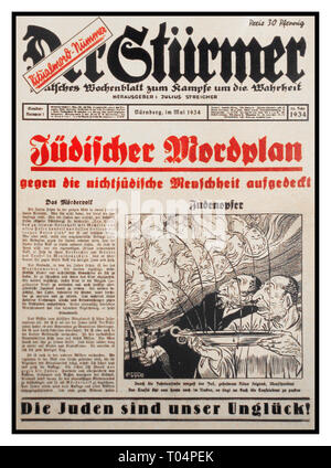 NSDAP Nazi Anti Jewish Racist Propaganda Germany 1934 Der Stürmer Tabloid Newspaper special issue, image shows Jews extracting blood from Christian children for use in religious rituals (an example of the blood libel against Jews) Weekly German newspaper published by Julius Streicher, the Gauleiter of Franconia, from 1923 to the end of World War II Nuremberg Nazi Germany During WW2 Streicher regularly authorized articles demanding the annihilation and extermination of the Jewish race. Der Stürmer was best known for its anti-Semitic caricatures, which depicted Jews as ugly characters - Stock Photo