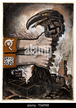 Vintage Propaganda Poster WW2 Allied Powers Soviet and British unity strangling predatory swastika wearing Germany hawk-like bird midst Nazi Germany ruins 1940's - Stock Photo