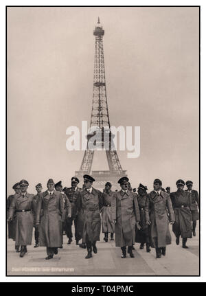 Eiffel Tower and Adolf Hitler with his group of high ranking Nazi Germany Military Officers including industrial strategist Albert Speer at his right side, in occupied Paris with the Eiffel Tower in background. An iconic carefully arranged Nazi propaganda image with German caption added, of Nazi Germany occupation in France World War II July 1940 WW2 - Stock Photo
