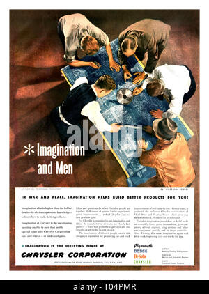 1940's Vintage WW2 Chrysler Corporation American Industrial War Effort with workers studying a mechanical industrial blueprint Cars Trucks Tanks Guns Propaganda Advertising 'Imagination and Men' USA - Stock Photo