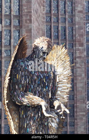 Knife Angel sculpture, National monument against violence and aggression and Knife crime - Stock Photo