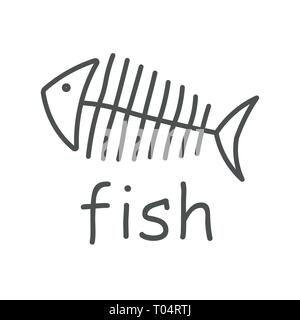 Fish sceleton white sign on dark background. Vector Illustration. EPS 10 - Stock Photo