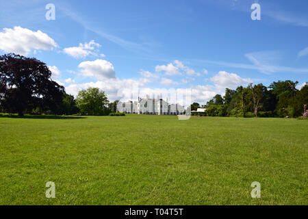 The grade II listed Neo-Classical elegant villa at Hylands House and Gardens, Writtle, Chelmsford, Essex, UK - Stock Photo
