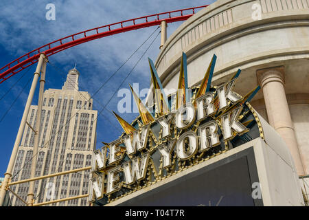 LAS VEGAS, NV, USA - FEBRUARY 2019: Sign outside the New York New York Hotel in Las Vegas - Stock Photo