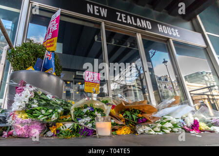 Following the New Zealand mosque shootings in Christchurch by terrorist Brenton Tarrant people in the UK have been laying flowers at New Zealand House - Stock Photo