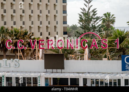 Daytime image of the sign above Veronica's Strip of clubs and bars at Playa de las America, Costa Adeje, Tenerife - Stock Photo