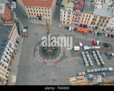 Aerial of Holy Trinity Column and Olomouc city old town in Moravia region of Czech Republic - Stock Photo
