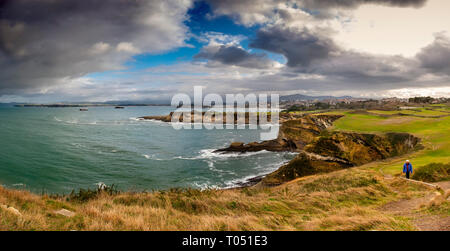 Panoramic view. Viewpoint Lighthouse of Cabo Mayor. Santander coast and Cantabrian Sea. Cantabria, Spain. Europe - Stock Photo
