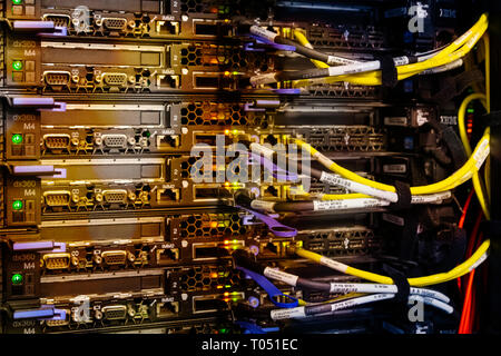 Supercomputer with cables and lamps - Stock Photo
