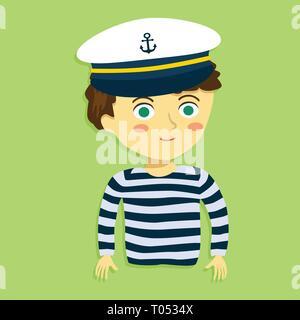 Boy with Sailor Shirt and Marine Captain Cap on Green Background Cartoon Vector Illustration - Stock Photo