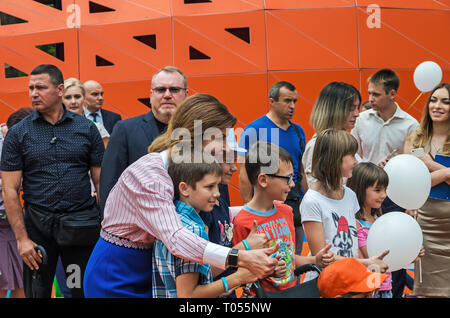 Dnipro, Ukraine - June 27, 2018: First Lady Marina Poroshenko and chairman of Dneprovsky regional state administration Valentin Reznichenko at opening - Stock Photo