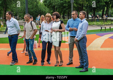 Dnipro, Ukraine - June 27, 2018: Dnipropetrovsk officials at opening of an inclusive children park - Stock Photo