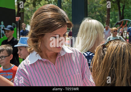 Dnipro, Ukraine - June 27, 2018: First Lady Marina Poroshenko at opening of an children inclusive park - Stock Photo
