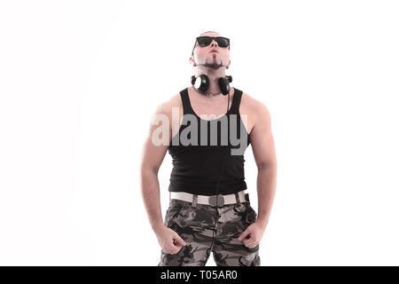 stylish rap artist with black glasses.isolated on white background. - Stock Photo