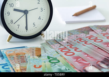 New Zealand money with an alarm clock, a page and a pencil - Stock Photo