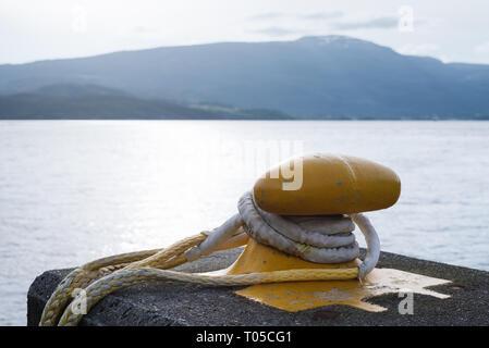 Sunny Norwegian landscape. Berth in Norway. Bitt Close up - Stock Photo