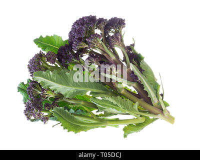 Handful of early purple sprouting broccoli spring vegetable, isolated on white. Overhead view. - Stock Photo