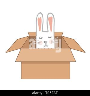 Surprise Craftboard Box with Happy Easter Bunny. Vector illustration. - Stock Photo