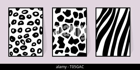 Vector texture of zebra, giraffe, leopard. Black and white illustration for poster. Monochrome poster with animal background for textile design set - Stock Photo