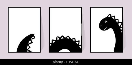 Monochrome posters with cute Dinosaur. Vector set Decor for walls. Black and white drawing in the Scandinavian style. Illustration on white background - Stock Photo
