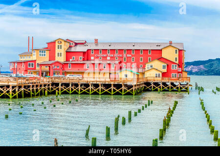 ASTORIA, OREGON - May 17, 2016: Astoria is the oldest city in Oregon, has a population of 10,000, is a cruise ship port, ends the   TransAmerica Bicyc - Stock Photo