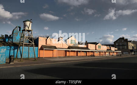The now demolished old Ranch House bar in Morecambe. It was part of the old Frontierland Western Theme Park which closed in 1999. - Stock Photo