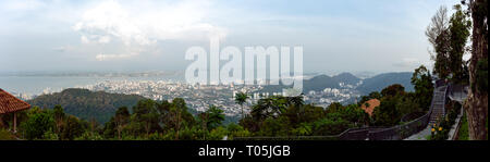 High up panoramic view from the Sky walk view point over looking Penang and George Town, Malaysia. - Stock Photo