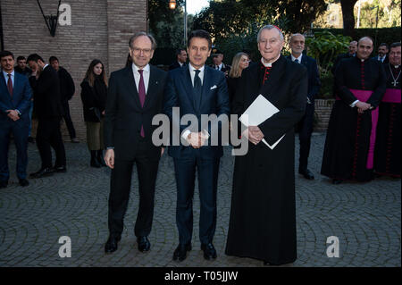President Sergio Mattarella and Cardinal Pietro Parolin meet at Villa Borromeo for the 90th Anniversary of the Concordat of the Lateran Pacts between Italy and the Vatican, signed in Rome on February 11th 1929  Where: Rome, Italy When: 14 Feb 2019 Credit: IPA/WENN.com  **Only available for publication in UK, USA, Germany, Austria, Switzerland** - Stock Photo