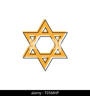 Star of David. Hexagram sign. Symbol of Jewish identity and Judaism. Simple flat orange illustration - Stock Photo