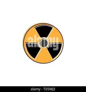 Radioactive warning yellow circle sign. Radioactivity warning vector symbol - Stock Photo