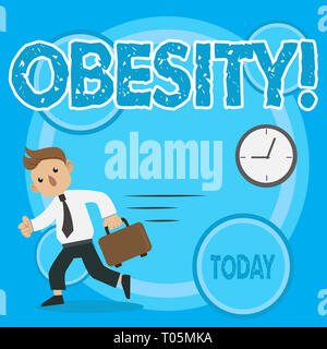 Word writing text Obesity. Business photo showcasing Medical condition Excess of body fat accumulated Health problem Man in Tie Carrying Briefcase Wal - Stock Photo