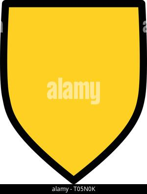 Yellow Shield Blank logo icon design template, privacy protection or security concept. Vector illustration - Stock Photo