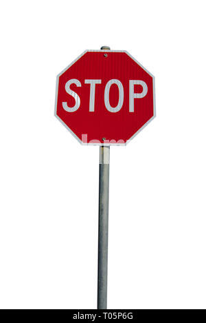 Mt Martha, VIC / Australia - Nov 18 2018: Stop sign in red colored octagon shape with blue sky background - Stock Photo