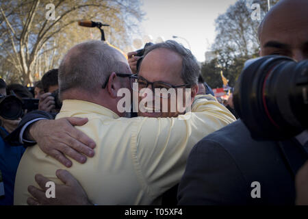Madrid, Spain. 16th Mar, 2019. Catalonia's region president QUIM TORRA in Madrid in support of imprisoned separatist leaders which trial is underway. Thousands Catalans have gone to Spanish capital to march under the slogan 'Self-determination is not a crime'. Past 12 February in Spain's highest court began the trial on twelve Catalan leaders with charges relating to an October 2017 independence referendum that was considered illegal by the Spanish government. Credit: Jordi Boixareu/ZUMA Wire/Alamy Live News - Stock Photo