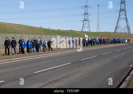 Hartlepool, UK. 17th March 2019. Brexit supporters on the second leg of the March to Leave walk from Hartlepool to Middlesbrough. Nigel Farage was not in attendance. Credit: David Dixon / Alamy Live News - Stock Photo