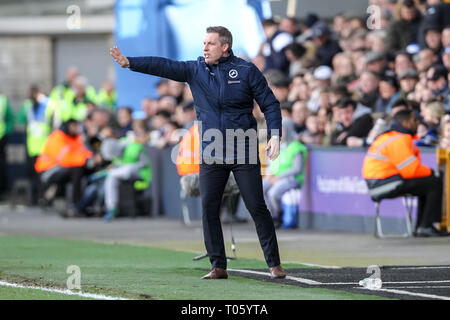London, UK. 17th Mar, 2019. Millwall Manager Neil Harris during the The FA Cup match between Millwall and Brighton and Hove Albion at The Den, London, England on 17 March 2019. Photo by Ken Sparks. Editorial use only, license required for commercial use. No use in betting, games or a single club/league/player publications. Credit: UK Sports Pics Ltd/Alamy Live News - Stock Photo