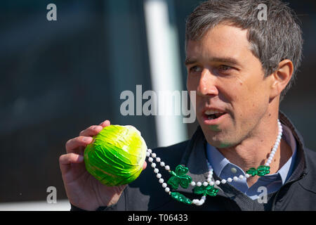 Madison, Wisconsin, USA. 17th March, 2019. Former Texas congressman and Democratic presidential candidate Beto O'Rourke greets supporters outside Cargo Coffee Shop on St. Patrick's Day in Madison, Wisconsin. Credit: Julia Hansen/Alamy Live News - Stock Photo