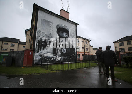 Londonderry, Northern Ireland. 16th Mar 2019. The Petrol Bomber mural as seen in the nationalist catholic Bogside area of Derry (Londonderry), Northern Ireland, March 16, 2019. - Bloody Sunday, sometimes called the Bogside Massacre, was an incident on 30 January 1972 in the Bogside area of Derry, Northern Ireland, when British soldiers shot 28 unarmed civilians during a protest march against internment. Fourteen people died: thirteen were killed outright, while the death of another man four months later was attributed to his injuries. Credit: Irish Eye/Alamy Live News - Stock Photo