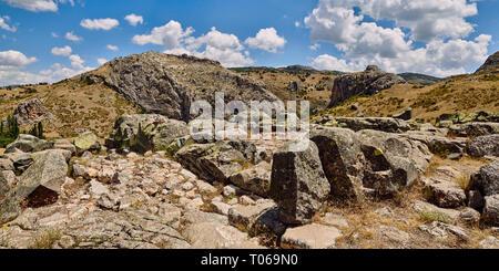 Ruins of walls of Temple I, Hattusa (also Ḫattuša or Hattusas) late Anatolian Bronze Age capital of the Hittite Empire. Hittite archaeological site an - Stock Photo