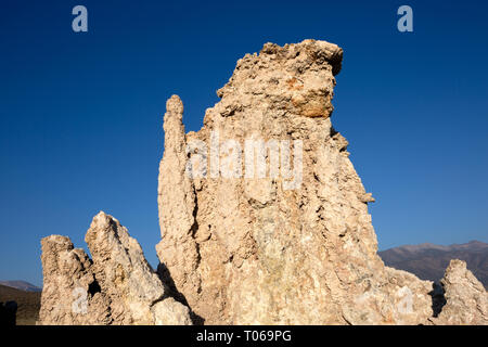 Close up of a tufa tower in the South Tufa Area, Mono Lake, Mono County, California, America - Stock Photo